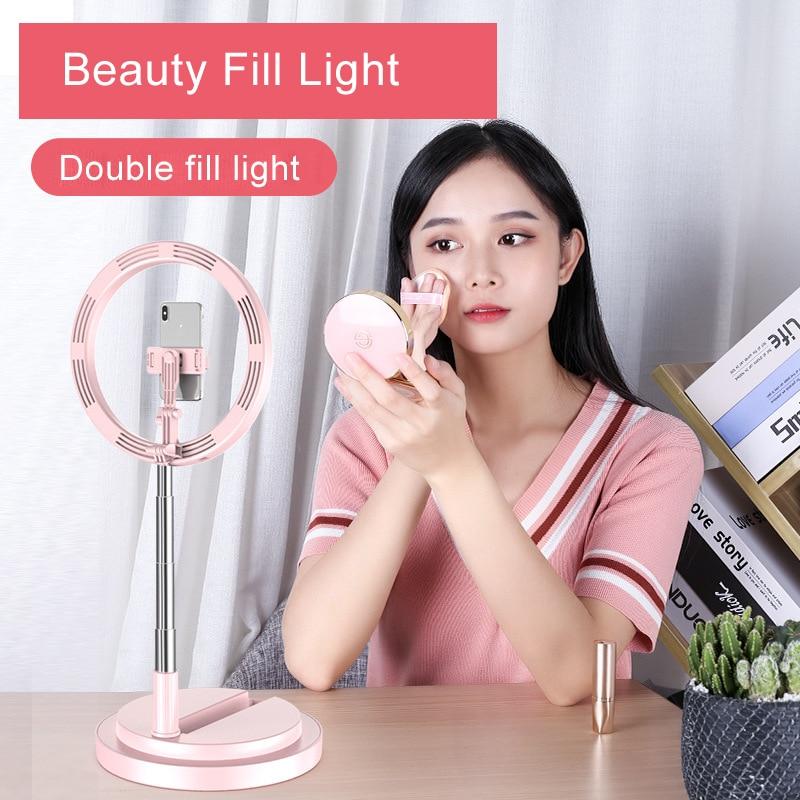 cheapest LED Studio Camera Selfie Ring Light Photography 10inch 26cm Photo Camera Ring Light With Tripod USB Plug Phone Holder Make Up