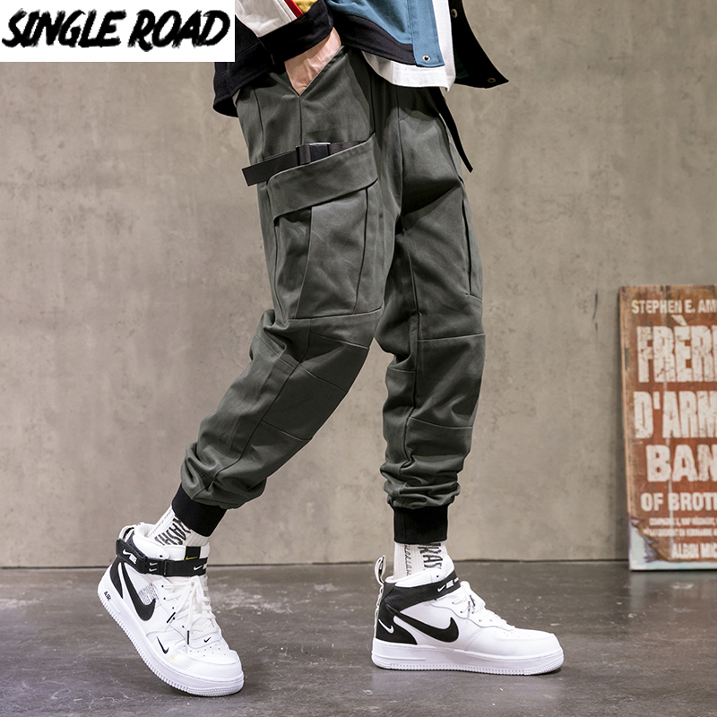 Single Road Mens Cargo Pants Men Joggers Men 2021 Hip Hop Techwear Male Japanese Streetwear Harem Jogging Pants Trousers For Men