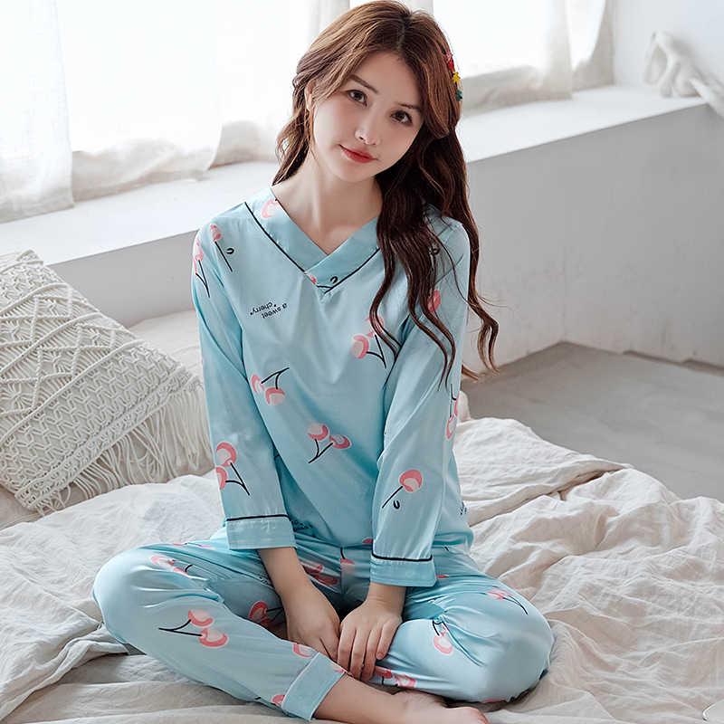 長袖シルクパジャマセット女性のための春の秋のシルクパジャマパジャマナイトウェアセット少女パジャマセット V ネックの夜