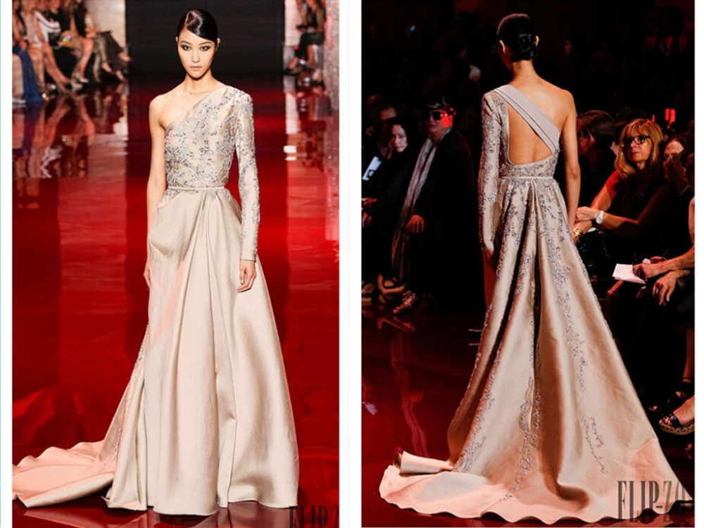 One Shoulder Long Sleeve Evening Dress 2016 New Sexy Backless Crystal Beading Formal Dresses Robe De Soiree Champagne Satin