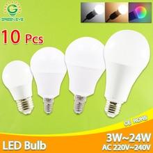 10 шт. светодиодный светильник с регулируемой яркостью E27 E14 реальная мощность 24 Вт 20 Вт 18 Вт 15 Вт 12 Вт 9 Вт 6 Вт RGB светодиодный светильник AC220V 240 В умный IC лампада светодиодный светильник