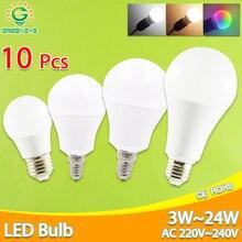 Bombilla LED regulable E27 E14, potencia Real, 24W, 20W, 18W, 15W, 12W, 9W, 6W, RGB, AC220V, 240V, Bombilla led de IC inteligente, 10 uds.