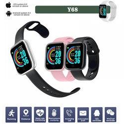 Мужские Смарт-часы Y68 для фитнеса, подарок для любителей спорта, женские часы с мониторингом сна, браслет с управлением камерой, 2020