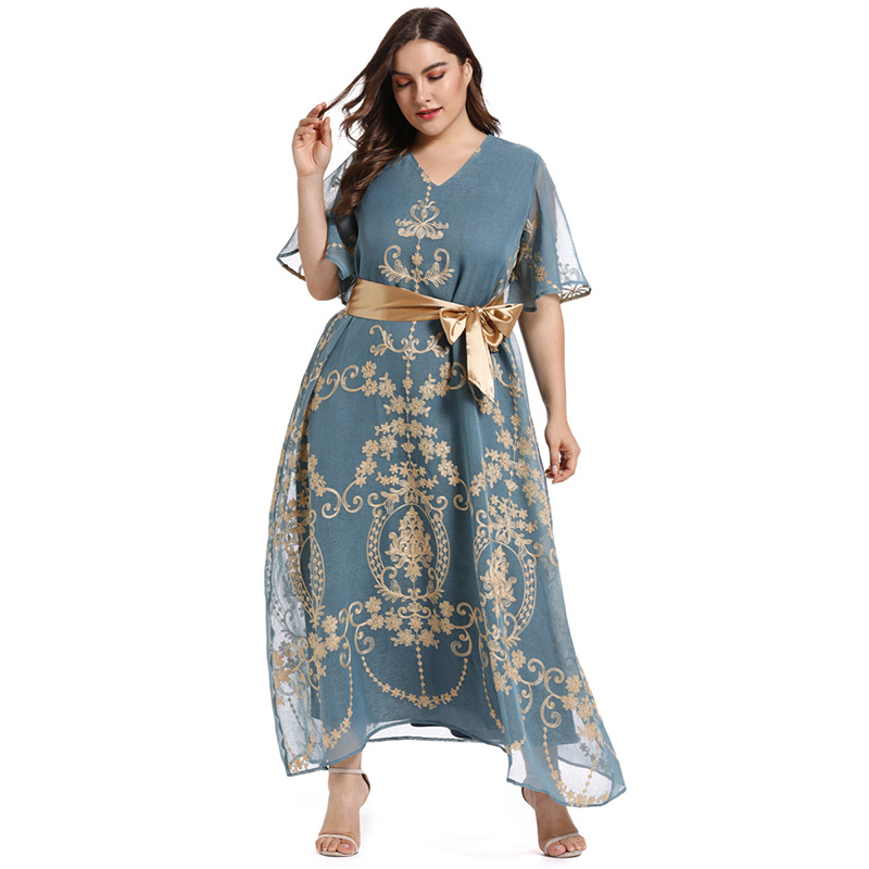 2019 New TOLEEN Women Blue Plus Size Dress Casual V Neck Flower Dress Embroidery Belt Fashion Party Long Dresses Women Vestidos
