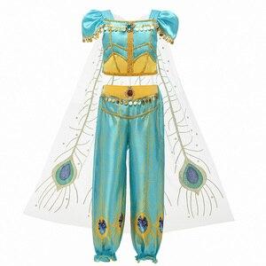 Image 4 - 夏のドレスジャスミンドレス子供の王女の衣装子供カーニバル誕生日パーティーの服コスプレアクセサリーかつら