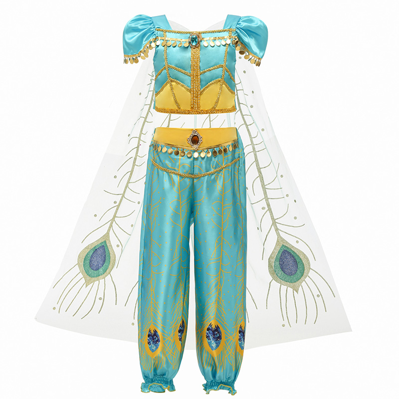 Image 4 - Dress For Girls Jasmine Dress Kids Princess Costume Children Carnival Birthday Party Clothes Cosplay Clothing Accessory WigDresses   -