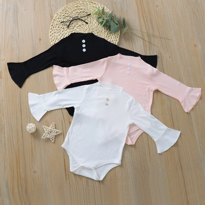 US Autumn Romper Newborn Baby Girl Clothes Bell Sleeve Romper Bodysuit Autumn Outfit Clothes Tops 0-24 Months