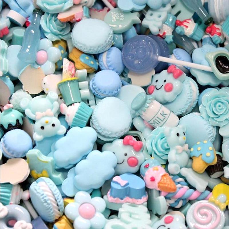 Mix Designs 20pcs Blue Color Dessert Cartoon Resin Flatback Cabochon Art Supply DIY Craft Decoration