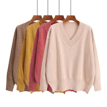 Solid Color V Neck Sweater Harajuku Simple Fashion Fresh Sweet Winter Tops Autumn New Korean Style Chic Loose Knit Women