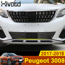 цена на Hivotd For Peugeot 3008 GT 5008GT 2017 2018 2019 Car Styling Stainless Steel Front Grille Racing Grills Bottom Protector Trim