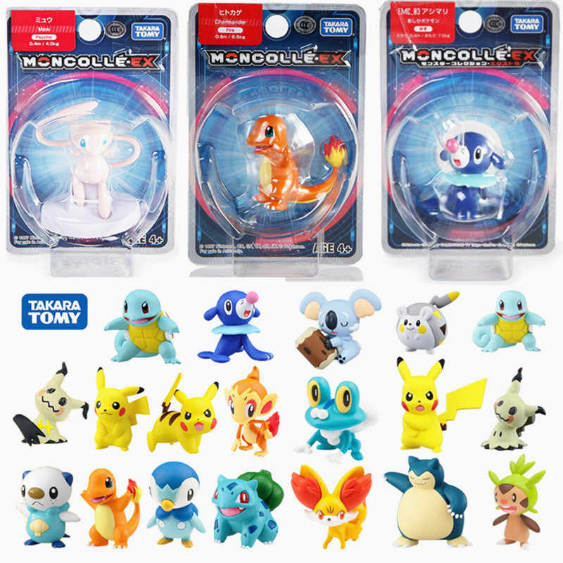 "TAKARA TOMY Pokemones Angka Tindakan Anime SUN & MOON Pikachued EX Squirtle Rowlet Mewtwo Action Figure 1.5 ""Model Mainan"