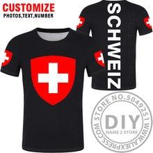 T-Shirt svizzera fai-da-te nome personalizzato numero che T-Shirt bandiere nazionali ch rosso tedesco country college stampa abbigliamento fotografico