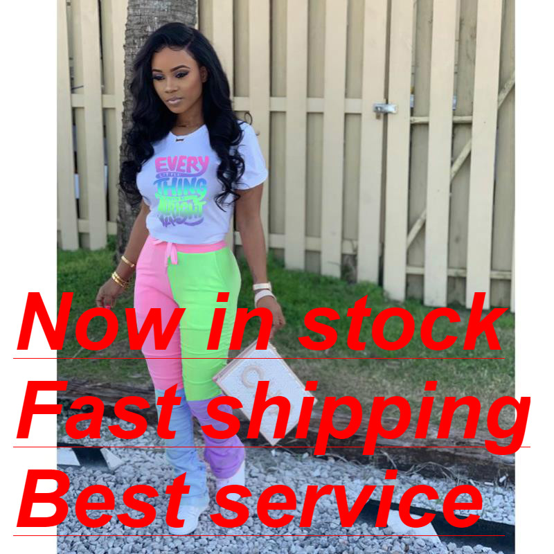 2020 Women's Fashion Flare Pants Women's Stacked Joggers Letter Print Short Sleeve T-Shirt Pleated High Waist Pants