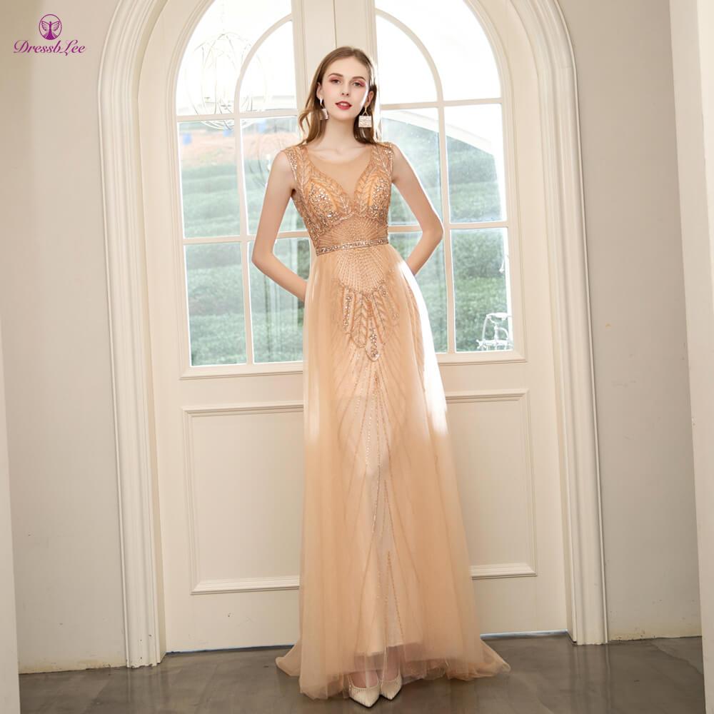 DressbLee Golden Long Prom Dress Full Crystal Beaded Sexy Transparent Prom Dresses Dubai Style Formal Gown Vestido-de-festa