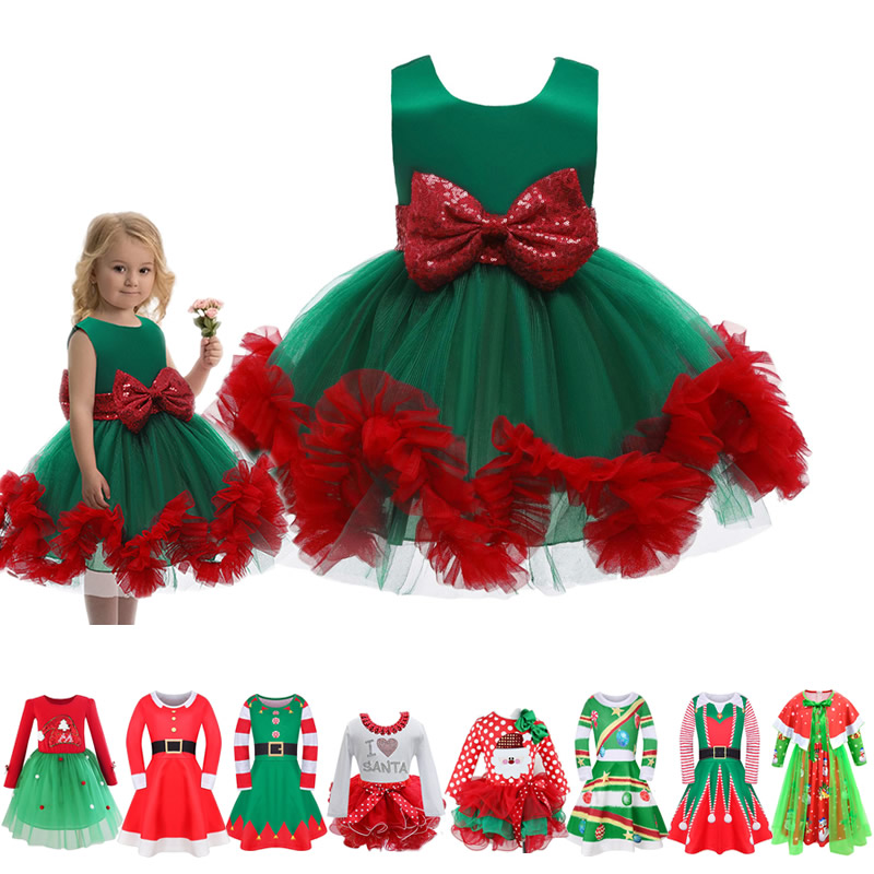 Kids Christmas Party Dress For Girl Lace Bow Ball Gown Chidlren Green Red New Year Costumes Santa Claus Print Theme Costumes 1