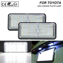 2pcs LED רישיון מספר צלחת אור מנורת ברור אור עבור טויוטה לנד קרוזר 100 Prado J120 200 רייז 4D סימן X לקסוס LX470 GX470