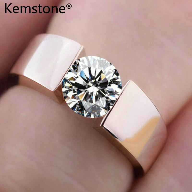 Kemstone Trendy Copper Rose Gold/Sliver Color Zircon Ring Size 4 To 13 Women Jewelry Gift