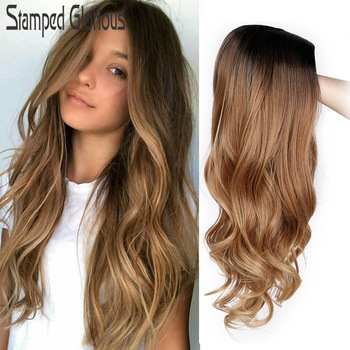 Stamped Glorious Natural Wave Wig Ombre Black Brown Wig Synthetic Long Wigs for Women Middle Part Heat Resistant Fiber Hair 1