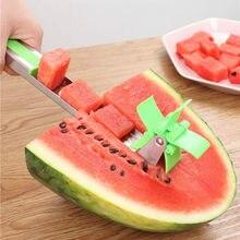 Originalidade frutas melancia slicer cortador pinças corer melão ferramenta de aço inoxidável melancia corte cubos de melancia cozinha ferramenta