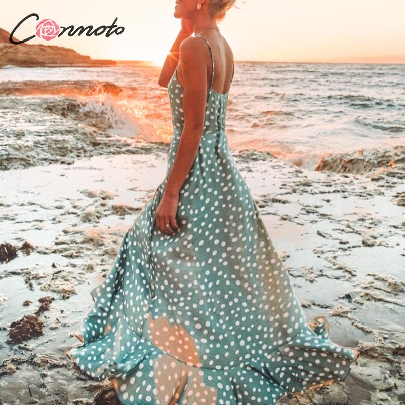 Conmoto Polka Dot Ruffles Beach Dress Women Dress Spaghetti Strap Summer Dresses Casual Ladies Long Plus Size Dress Vestidos