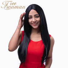 FREEWOMAN Natural Black Straight Wigs 24in Middle Part Synthetic Wig WIth Natural Hairline Women Party Heat Resistant Fiber Wig(China)