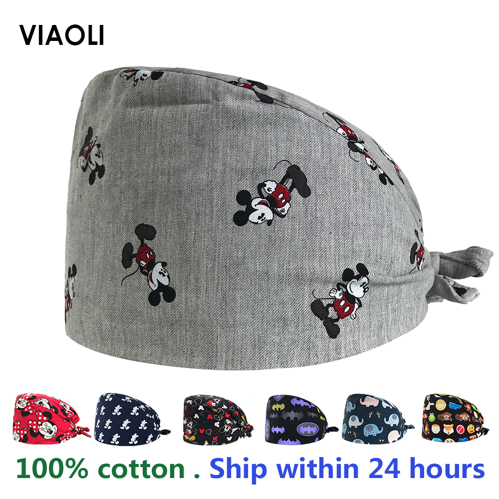 New Medical Caps Women And Men Surgery Cap 100% Cotton Surgical Work Hats An Elastic Brace Ties Hospital Doctor Working Hats