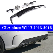 Carbon Rear Diffuser Bumper Lip For Mercedes-benz CLA Class W117  CLA45 CLA180 CLA200 CLA250 Pre-facelift 2013-2016 цена
