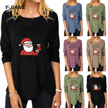 Christmas Plus Size Autumn Women T-shirts Cartoon Print Christmas Tshirt Casual Loose Long Sleeve Tunic Women Top Camisetas #G3(China)