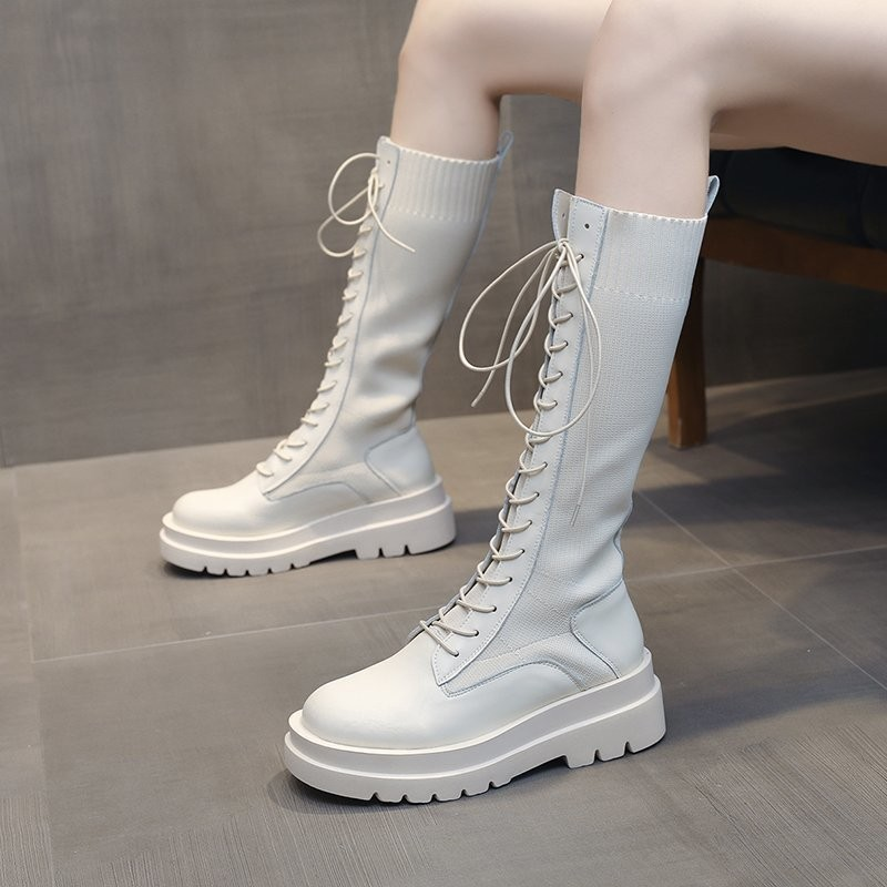 Women Sock Boots Autumn Lace up Mid Calf Boots Female High Platform Sock Shoes Fashion Beige Stockings Boots  Mid calf