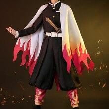 Novo anime demônio slayer: kimetsu não yaiba cosplay traje rengoku kyoujurou cos kimono vestido h