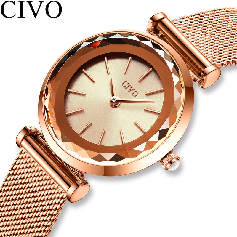 2020 CIVO Luxury Brand Women Watches Fashion Casual Quartz Ladies Wrist Watch Mesh Strap Waterproof Clock Relogio Feminino 8107C