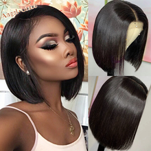 Wigs Short Bangs Human-Hair-Wigs Lace-Closure Angel-Grace Pre-Plucked 13x4 Bob with 4x4