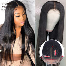 Wiggins 28 Inch Human Hair Wigs Middle Part Lace Peruvian Straight Lace Wigs PrePlucked With Baby Hair for Woman 130% 150% 180%(China)