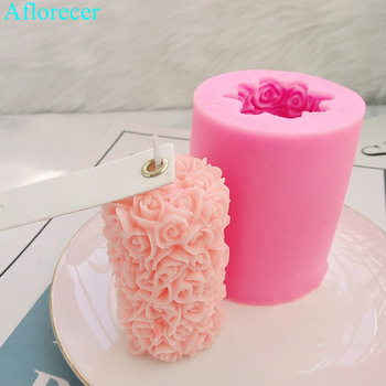 3D Rose Flower Candle Silicone Mold DIY Gypsum Plaster Mould Cylinder Shape Silicone Soap Candle Molds 1