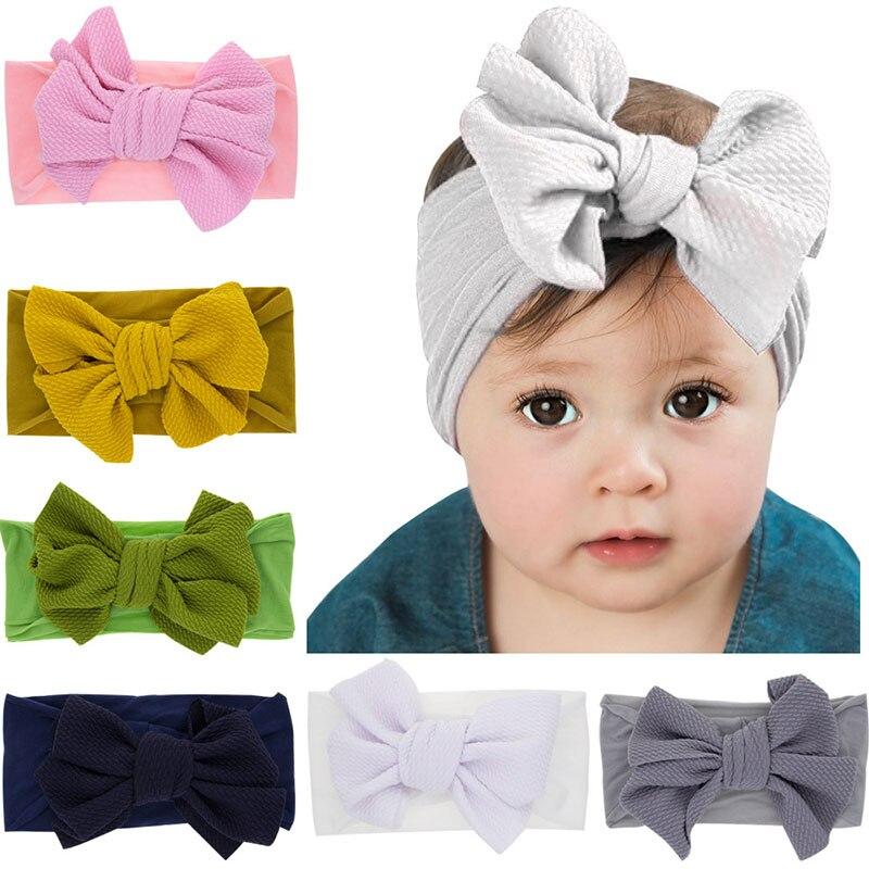 Fashion Newborn Baby Cute Bow Nylon Headband Kids Hairbands Hair Accessories Super Soft Toddler Knot Children Hair Band Headwear