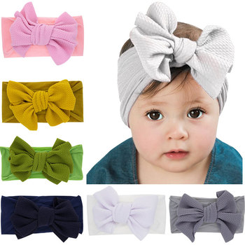 цена на Fashion Newborn Baby Cute Bow Nylon Headband Kids Hairbands Hair Accessories Super Soft Toddler Knot Children Hair Band Headwear