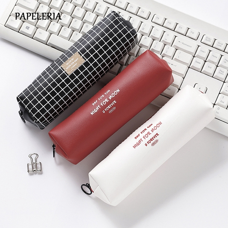 Black Leather Pencil Case School Grid Pencil Bag Solid Color English Alphabet PencilCase For Girl Stationery Pouch Supplies