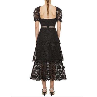 新しい夏黒ソリッド v ネックレースのドレスの女性パフ袖パッチワークヴィンテージエレガントなパーティーマキシドレス女性滑走路 vestido