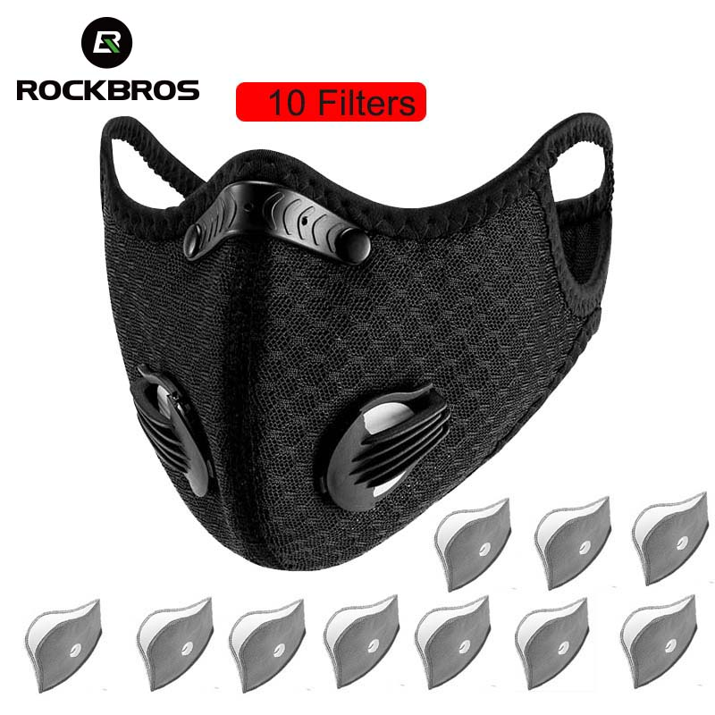 ROCKBROS Men Women Cycling Mask Filter MTB Bike Face Mask Dust Mask Activated Carbon With Filter Anti-Pollution Bicycle