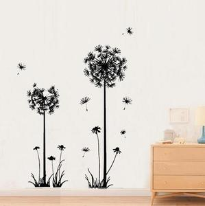 Fashion Black Dandelion Wall Stickers PEPA Modern DIY Stickers For Living Room Bedroom Wall DIY Home Decor Accessories(China)