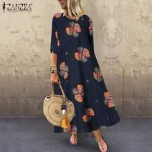 ZANZEA Retro de Mujeres para el verano, Floral vestido de verano estampado 3/4 manga Vestido largo de caftán de talla grande Vestidos túnica Bohemia Baggy Vestidos