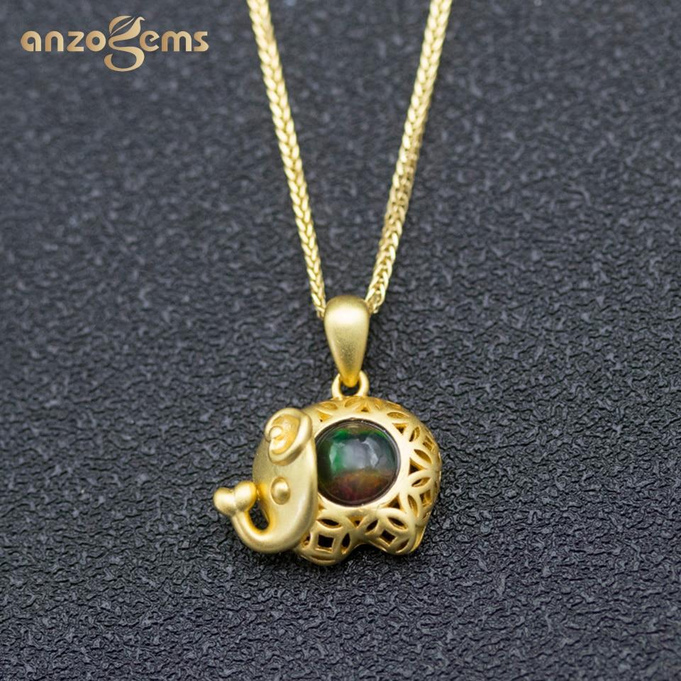 Anzogems natural black opal elephant pendant necklace 925 sterling silver gemstone fine jewelry for women girls cute pendants
