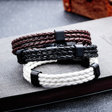 Misheng Brand Simple Mens Bracelet Black Brown PU Leather Stainless Steel Accessories 2019 New Trend Boyfriend Gift Jewelry