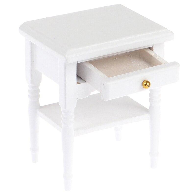 Doll House Bedside Cupboard Dolls Mini Furniture Modern Night Table 1:12 Scale Dollhouse Wooden Miniature