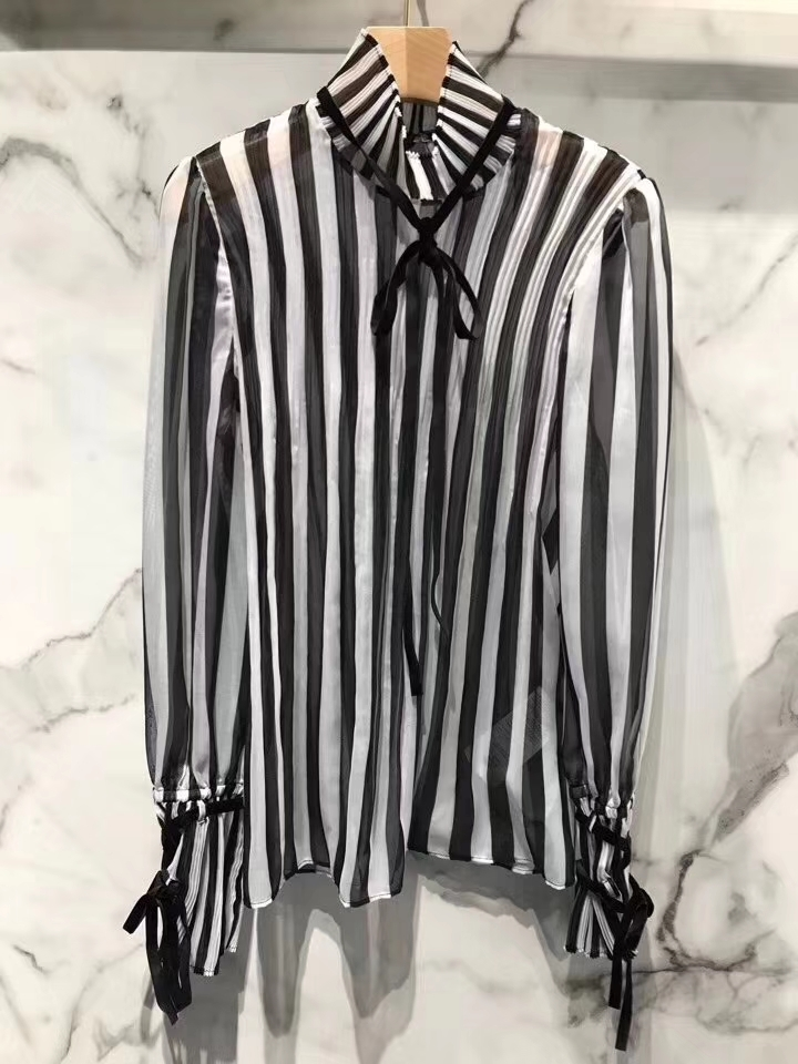 2020 new ladies fashion trumpet long sleeve lace black and white striped top blouse 0519 Blouses & Shirts  - AliExpress