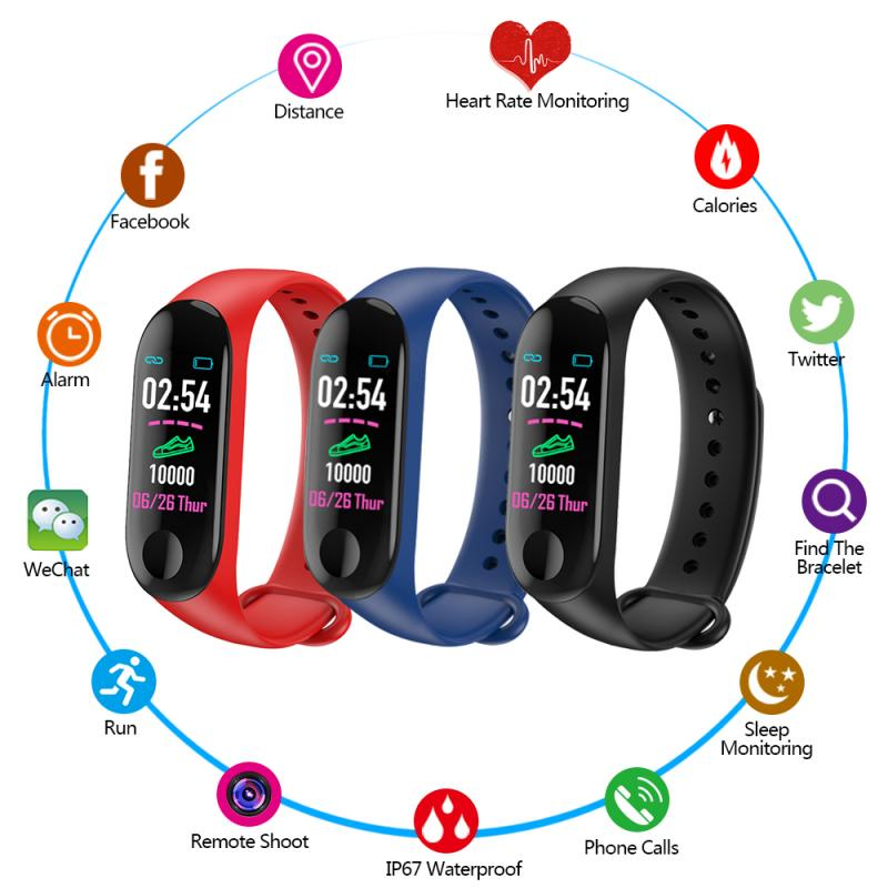 M3 Plus Smart Watch Bracelet Band Fitness Tracker Wristband Heart Rate Activity Screen Smart Electronics Bracelet Watch 9