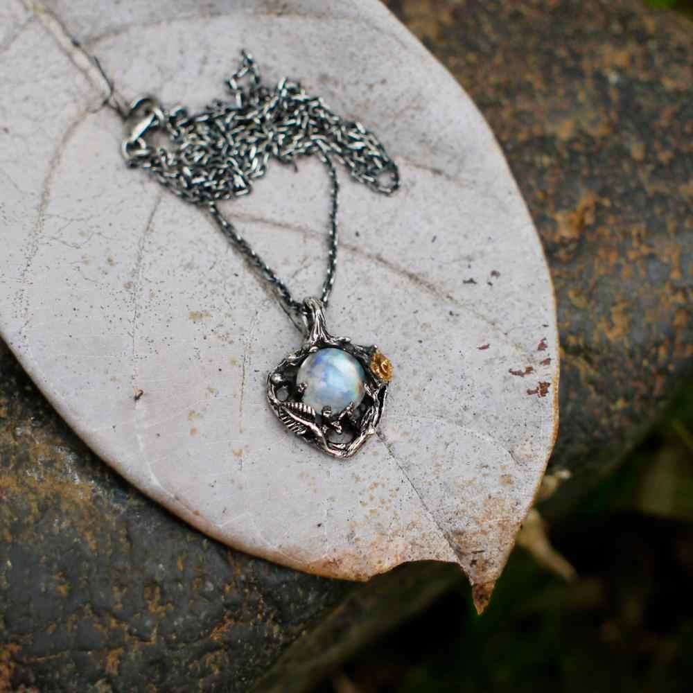 Collar de declaración DZ822 con colgante de flor de piedra de luna de Plata de Ley 925