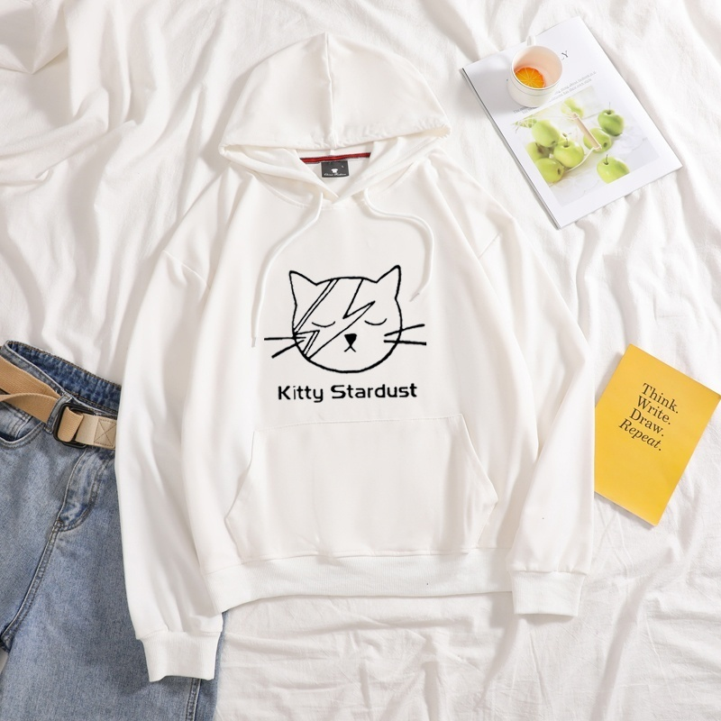 Женские толстовки с капюшоном kitty stardust милым котиком Харадзюку