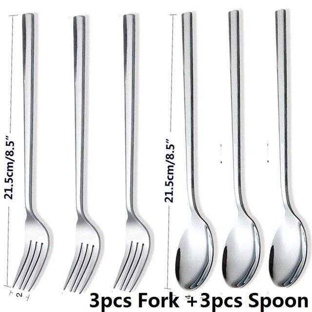 """6pcs 8.5/"""" Stainless Steel Dinner Forks Dessert Fruit Steak Fork Korean Tableware"""