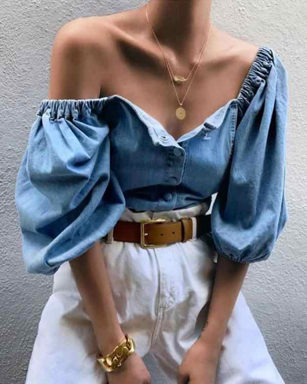 Frauen Damen Top Off Shoulder Denim Langarm T Shirt Lose Tees Tops Puff Sleeve Boot-ausschnitt T-Shirt